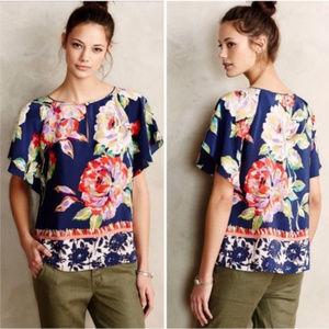 Anthropologie Maeve Gardenia Silk Blouse Size 2